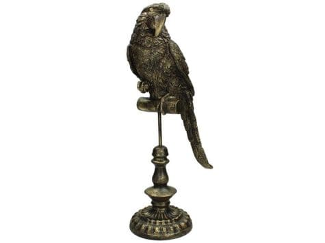 parrot on a perch statue | gold parrot ornament | Libra